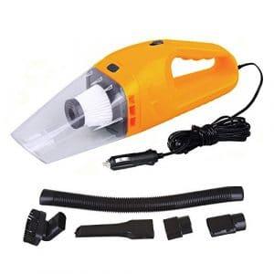 HUKOER Aspirateur à main portable pour voiture 120w 12v Dépoussiéreur de poche avec branchement de cigarette (Orange)