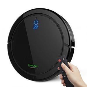 Finether Aspirateur Robot Télécommande, Système de Nettoyage Puissant avec Batterie Li-ion 2600mAh Jusqu'à 80 min, Dégager Poils d'Animaux, Parquet, Tapis