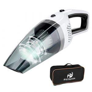 Patiszon Aspirateur à Main sans Fil Rechargeable humide et sec 14,8 V Aspiration forte de 100 W à filtre métallique (2 filtres de rechange) pour voitures Home