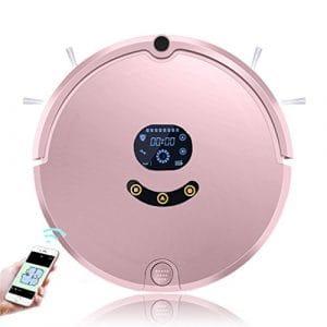 CCYOO Nettoyage De Balayeuse Humide Et Sèche De Balayeuse De Robot Aspirateur avec 2200MAH Batterie Au Lithium APP À Télécommande,Pink,US