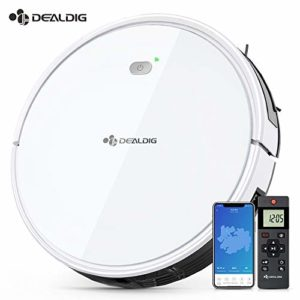 Aspirateur Robot Intelligent 1800Pa, DEALDIG Robot Aspirateur Connecté Wifi et Alexa, Aspiration Puissante sur Tapis et Sol