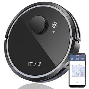 Robot Aspirateur, Muzili Robot Nettoyeur Intelligent – WiFi APP – Nettoyeur et Laveur -150 min MAX Travaille – Chargement Automatique pour Sol Durs Tapis et Animaux en Poils [Classe énergétique A+++]