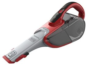 BLACK+DECKER DVJ315J-QW Aspirateur à main sans fil – 10,8 V – Autonomie : 14 min – Charge : 4h – Chargeur prise Jack – Prolongateur intégré et brosse retractable , 500 ml, Rouge