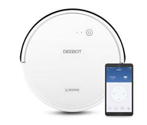 ECOVACS DEEBOT 600 – Aspirateur robot nettoyeur – Pour sols durs et tapis – Aspirateur sans fil programmable via smartphone et compatible avec Amazon Alexa
