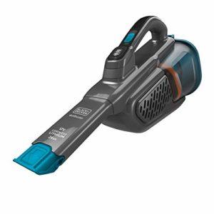 BLACK+DECKER BHHV320J-QW, Aspirateur à Main sans fil-12 V-Chargeur par Prise Jack-Prolongateur intégré, Bleu & Titanium, 25 W, 500 milliliters