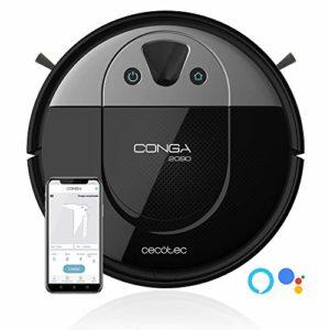 Cecotec Conga 2090. Robot Aspirateur technologie iTech, Caméra 360º, Balai, Aspire et Lave le sol en même temps, App avec carte interactive, 2700 Pa, Alexa & Google Assistant
