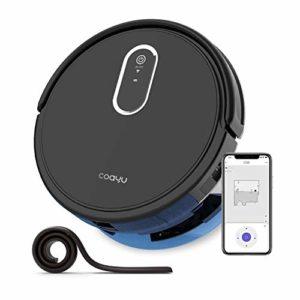 COAYU C530 Alexa App Control,Aspirateur robotique avec réservoir d'eau, Balayage et Balai Humide 2 en 1, pour sols durs et Tapis à Poils Faibles (Noir)