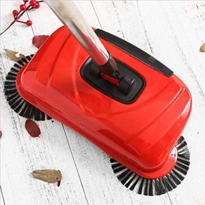 gaeruite Balayeuse avec aspirateur à Main, Balai aspirateur Automatique 3 en 1 de Nettoyage ménager – Aucune électricité requise (Rouge)