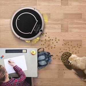 Robot de Nettoyage Robot Aspirateur SweepWop Mop simultanément pour Les sols durs Tapis pour Animaux de Compagnie Anti-Collision Recharge Automatique Noir (Couleur: Noir)-Noir