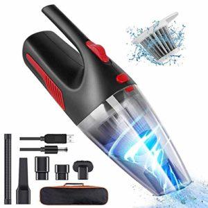 SHANG Aspirateur sans Fil, Aspirateur À Main 120W 4500PA Forte Et Technologie De Charge Rapide Et avec Lumière LED Et Faible Bruit Aspirateur De Voiture sans Fil pour Escaliers À La Maison