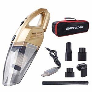 Aspirateur de voiture, EFORCAR Aspirateur sans fil sans fil / sec avec batterie rechargeable 2200mAH, Aspirateur à main puissant à aspiration 3KPA avec sac de transport (12 V 100 W en or)