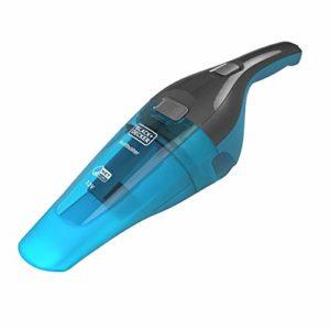 BLACK+DECKER WDC215WA-QW, Aspirateur à main sans fil – 7,2V – Chargeur sur base avec indicateur LED de charge – Brosse et raclette pour le nettoyage, Bleu et Gris, 385 ml, 14 W, 385 milliliters