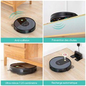 DEENKEE DK700 Aspirateur Robot Laveur Connecté Wi-Fi et Alexa, Contrôle des App, Soutien au remplacement des réservoirs d'eau, Robot de Vadrouiller le sol, pour Poils D'animaux, Sol Dur, Tapis
