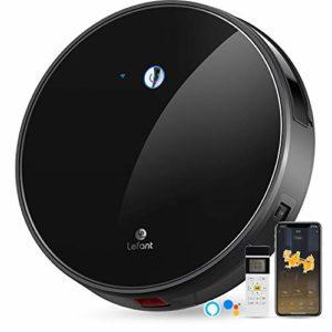 Robot Aspirateur, Contrôle par Wifi/APP/Télécommande 2200 Pa/50dB Silencieux Capacité de 600ml Surface en verre trempé Compatible avec Alexa et Googlehome Idéal pour Poils d'Animaux Lefant-M520