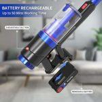 Vistefly VXB Aspirateur Balai sans Fil sans Sac,23600Pa Aspirateur sans Fil 2 en 1 Aspirateur à Main Jusqu'à 50 Min D'autonomie,Batterie rechargeable et amovible…