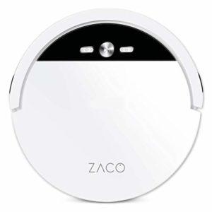 ZACO V4 – Aspirateur robot avec 4 modes de nettoyage et auto-charge – Capteurs intelligents pour poils d'animaux – Idéal pour sols durs et tapis – Blanc perle
