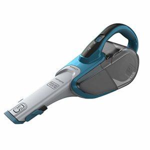 BLACK+DECKER DVJ320J-QW Aspirateur à main sans fil – 10,8 V – Autonomie : 15 min – Charge : 5h – Chargeur prise Jack – Prolongateur intégré et brosse retractable , 500 ml, Bleu océan