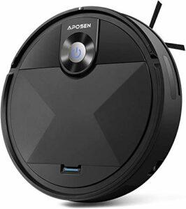 APOSEN Aspirateur Robot, Robot Aspirateur Laveur, Fonctionnement 100 Minutes, Chargement Automatique, Planification d'itinéraire, (Noir1)