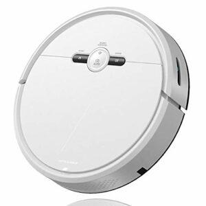 LILIS Robot aspirateur Aspirateur Robot Wifi et APPVoice Télécommande Vadrouille 3 en 1 1500Pa aspiration 4400 MAH Gyro Chemin de planification automatique de charge Corile (Color : White)