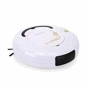 Robot aspirateur et balai serpillère 6,8 cm ultra fin super silencieux pour appartements, petite maison, sols durs et moquette, noir GGSM (couleur : blanc)