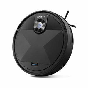 APOSEN Aspirateur Robot, Charge Automatique Robots Aspirateurs, Super Aspiration 1500Pa, 600ML Capacité, Fonctionnement à Un Bouton, A200