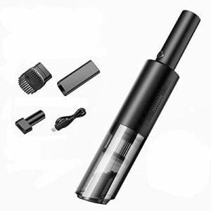 Aspirateur à main, aspirateur sans fil portable avec aspiration forte 6000Pa, mini aspirateur de voiture avec USB rechargeable, pour poils d'animaux, nettoyage intérieur de voiture (Color : Black)