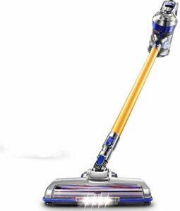 CAIJINJIN Aspirateur de robot Ménage à faible bruit Aspirateur sans fil 2 en 1, 12Kpa aspiration, 1 litre grande capacité poussière seau, brosse à plancher électrique, LED avant éclairage, à main Aspi