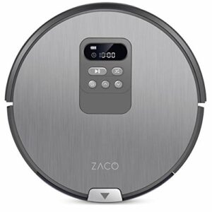 Zaco V80 – Aspirateur robot et laveur 2 en 1 – Silencieux, puissant et utilisable sur toutes les surfaces – Navigation intelligente, détecte les poils d'animaux – Gris fer Gris/Argenté