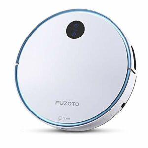 FUZOTO F6S Aspirateur Robot Connecté WiFi, Aspirateur Robot Laveur à Aspiration Puissante de 1500Pa avec Auto-Recharge, Alexa & APP Contrôle, idéal pour Tapis, Sol Dur, Poil Animaux, Blanc