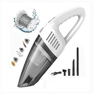 URJEKQ Aspirateur à Main 120W 2200mA Aspirateur à Main sans filRéduction d'humidité/Bruit Charge Rapide avec Filtre Lavable pour la Maison la Voiture la Table Le Type Humide et Sec,Blanc