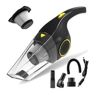 URJEKQ Aspirateur à Main 120W 2200mAh Aspirateur à Main sans filRéduction d'humidité/Bruit Charge Rapide avec Filtre Lavable pour la Maison la Voiture la Table Le Type Humide et Sec,Noir