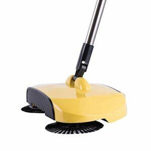 Aspirateur robot aspirateur en acier inoxydable à pousser à la main pour la maison, la cuisine, le tapis, la poussière, le balai magique télescopique (couleur : jaune citron, taille : A)