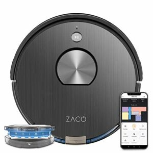 ZACO – robot aspirateur A10, WiFi, connecté Alexa, Google et appli – robot autonome intelligent 3 en 1, navigation 3D laser 360° – nettoyeur lavant sans fil pour sols durs, tapis et poil animaux