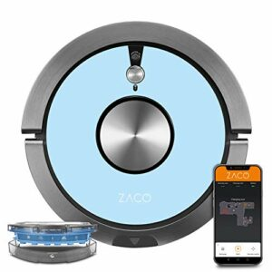 ZACO A9sPro Robot aspirateur Laveur avec WiFi, Alexa, Google, app – Robot Autonome Intelligent 2en1, Navigation cartographie, caméra, Nettoyeur lavant pour sols durs, Tapis, Poil Animaux, Bleu Ciel