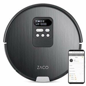 ZACO – robot aspirateur laveur V85 avec WiFi, connecté Alexa, Google et appli, et récipient XXL 750 ml – laveur de sol 2 en 1 sans fil avec base de vidange – nettoyeur pour poil d'animaux et de chien